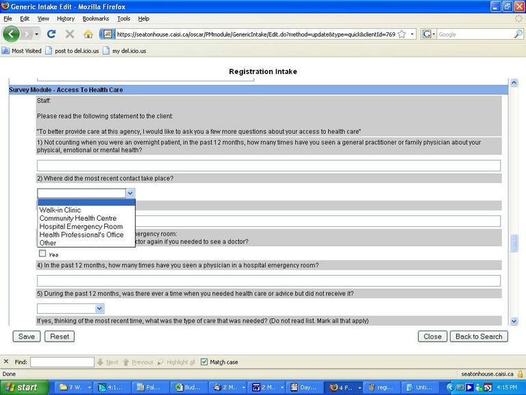 User Created Registration Intake Form
