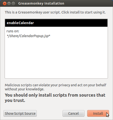 Greasmonkey Script installation screenshot