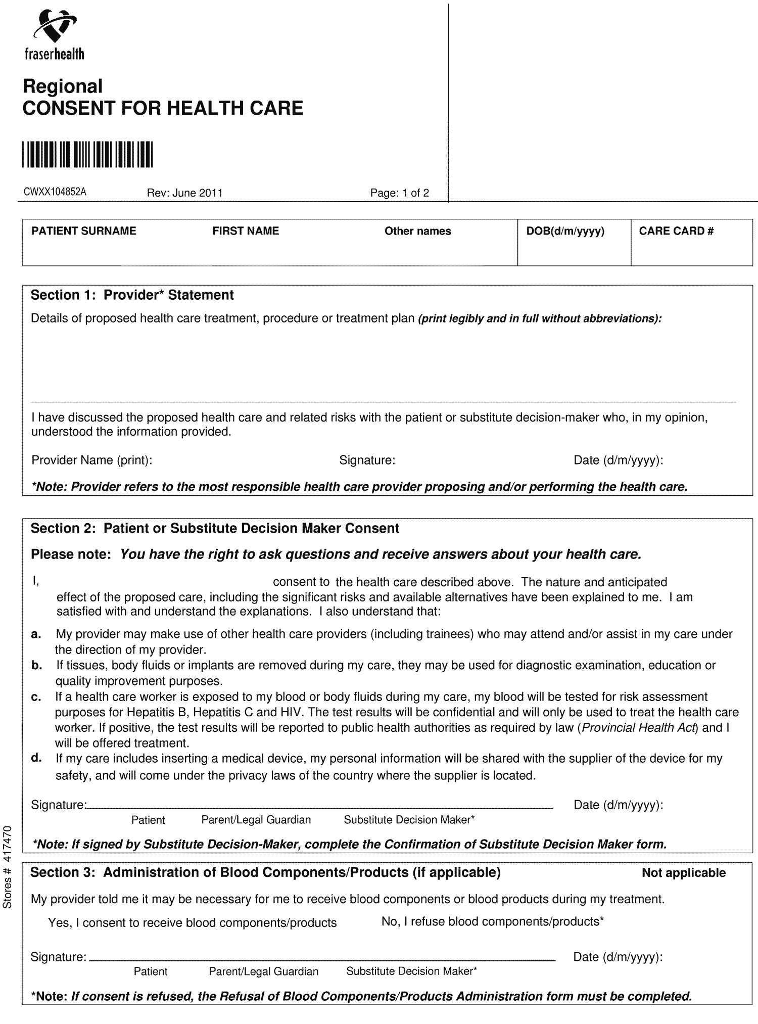 health form template