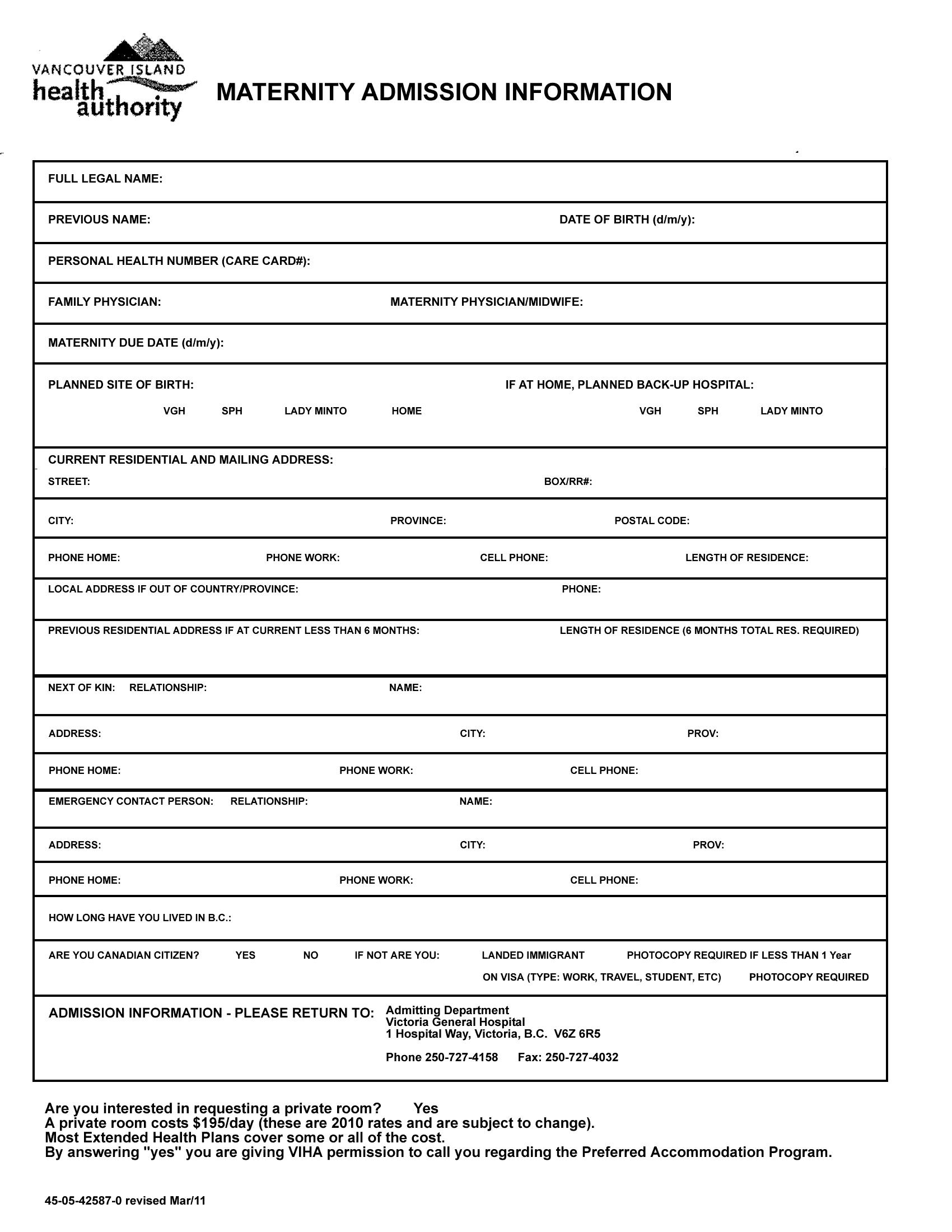 hospital admission form template